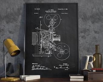 Projector Patent Print, Kinetoscope Patent, Movie Reel Projector, Movie Poster, Home Decor, Patent Print - DA0185