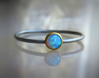 sterling silver OPAL Ring, Blue opal ring, Silver blue opal ring, thin gemstone ring, birthstone ring