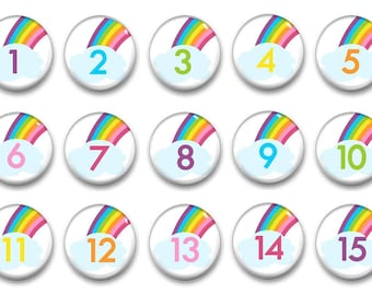 Rainbow Unicorn Number Magnets - Calendar Magnets - Counting Practice - Educational - Preschool Learning - Classroom Numbers - Unicorn