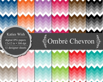 Ombre Chevrons digital background kit  12x12 inch jpg Commercial Use Instant Download