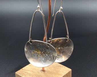 Long Sterling Silver Oval Earrings with 24 K Gold Keum Boo