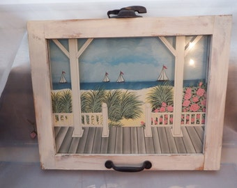Summer Cottage Porch View of the Ocean Sailboats Roses - Acrylic Painting on Window Frame Original Latche and Handle Shabby Cottage Chic