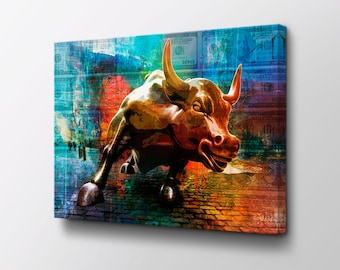 Charging Bull Motivational Canvas Wall Art - Original design by Epik - Ready to Hang modern canvas artwork - Entrepreneur Money Art