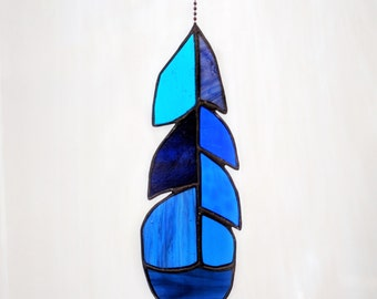 Stained Glass Blue Jay Feather in Blues