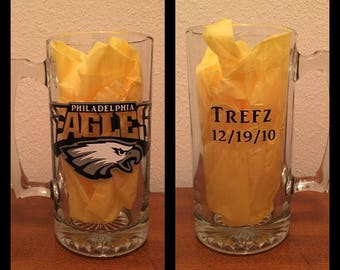 NFL or any Sports team glass beer mug with name