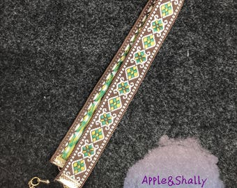 Embroidered Choker, Brown green yellow embroidery handmade,Silk textile embroidered necklace with metal chain