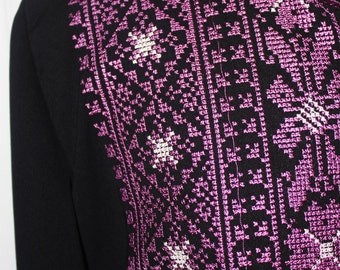 VTG 80s Traditional Embroidered Ethnic Tunic Black/Purple/White