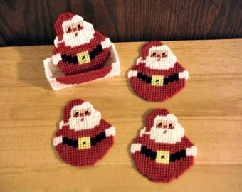 Plastic Canvas Coaster Set, Roly Poly Santa, needlepoint item, Christmas decor, Christmas gift idea, holiday gifts, holiday coasters