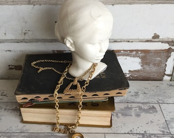 Vintage Ceramic Girl Head - Bookend White Bust