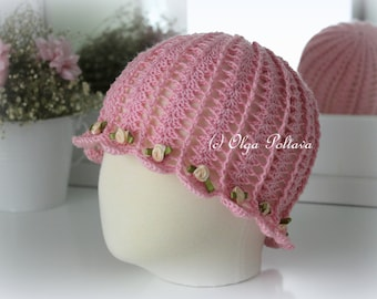 Crochet Summer Hat Pattern, Shells and Roses Cloche Hat for Girls, Size 3-5 Years Old, Crochet Pattern