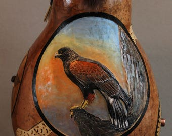 Harris's Hawk carved gourd art with pyrography and pine needle coiling