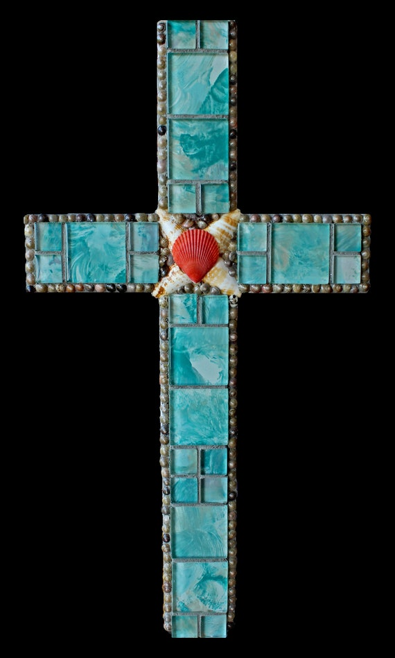 Glass and Shell Mosaic Wall Cross Beach Decor in Turquoise Modern Contemporary Design