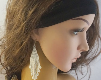 White wedding earrings seed bead jewelry bohemian earrings bridal earrings dangle earrings Beaded earrings white earrings elegant earrings
