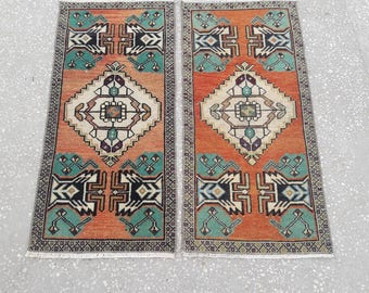 """Doormat Rugs Mat Rugs Small Oushak Rugs Vintage Area Rugs Small Size Turkish Rugs Bathroom Kitchen Rugs 1'5"""" x 3'1"""" Feet Free Shipping !"""