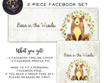 Facebook Set, Facebook Timeline Cover, Facebook Logo, Facebook Template, Animal Facebook Set, Whimsical Facebook Cover