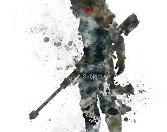 Winter Soldier inspired ART PRINT illustration, Superhero, Bucky Barnes, Captain America, Wall Art, Home Decor