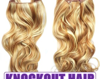 "Fits like a Halo Hair Extensions 20"" - 150 Grams 100% Premium Fiber Wavy Hair (Light Strawberry Blonde/Light Blonde Mix - #27HR/86)"