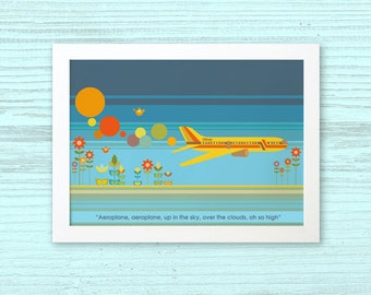 AEROPLANE - Children's / kid's / baby's personalised framed picture - Children's wall art - Baby's bedroom wall art - Child's gift