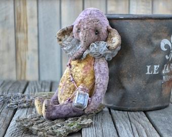 "OOAK Friend teddy bear elephant ""Fili"", artist elephant, stuffed elephant, teddy elephant, handmade elephant, vintage plush toy, soft toy"