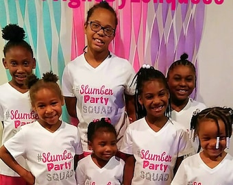 SLUMBER PARTY PAJAMAS! Matching slumber party shirts. Girls party PJs. Slumber party squad. Sleepover PJs. Girls Matching pajamas