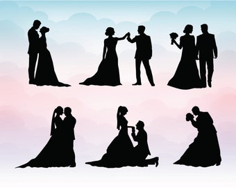 Couple Silhouette Clipart - Wedding silhouettes SVG - Wedding clipart - Wedding design invitation elements - Lovers Silhouettes Clipart