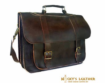 Men Leather MESSENGER BAG - 15 inch LAPTOP Bag  from 100% Full Grain Leather in Brown color