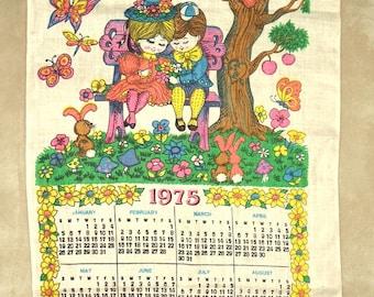 1975 Vintage Linen Calendar Towel Little Girl and Boy Czechoslovakia CUTE