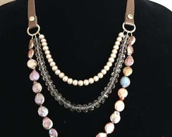 Leather and Pearls Necklace
