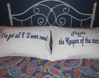 Keeper of the Stars - Hand Painted - Couples Pillowcases - Bedroom Decor