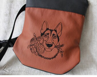 Dog treat bag, dog-walking go bag, leather, embroidery