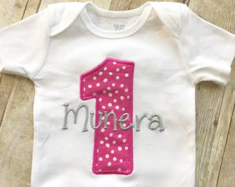 Polka dot first birthday outfit - 1st  birthday - Polka dot - Baby Girl - 1st Birthday Girl - Pink and Silver