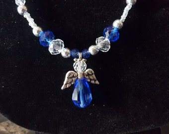 Blue and Clear Angel Glass Bead Necklace
