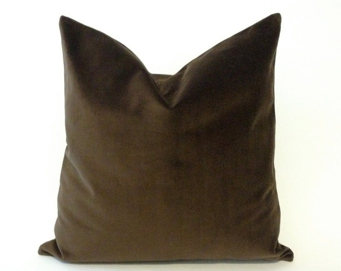 Chocolate Brown Cotton Velvet Pillow Cover -Decorative Accent Throw Pillows -Invisible Zipper Closure -Knife Or Piping Edge -16x16 to 26x26