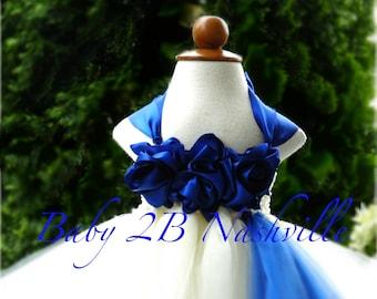 Cobalt Dress Blue Dress Ivory Dress Flower Girl Dress  Wedding Dress Baby Tutu Dress Toddler Tulle Dress Girls Dress Party Dress Birthday