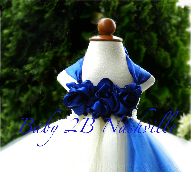 Cobalt Dress Blue Dress Ivory Dress Flower Girl Dress Wedding