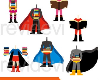 Superhero clipart sale - superhero body with books clipart digital - commercial use clip art superheroes, back to school