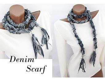 Denim necklace Denim choker Necklace Scarf necklace Long Denim scarf Jeans necklace Recycled denim Long scarf fabric scarf Denim jewelry