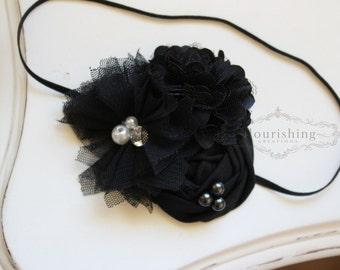 Black Flower Headband, newborn headbands, back to basics headbands, black headbands, photography prop