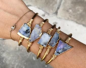 Raw Moonstone Chunk Cuff Bracelet, bangle bracelet, raw gemstone bracelet, gypset