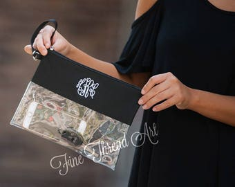 Black and Clear Crossbody or Clutch Stadium Game Day Purse Bag with Embroidered Monogram Personalized