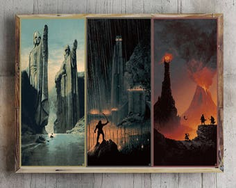 The Lord Of The Rings Trilogy Art Movie Poster The fellowship of the ring , The two towers , The return of the king picture