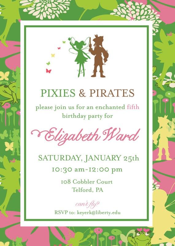 Pixies y piratas invitación Tinkerbell