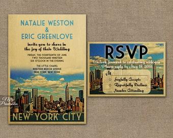 New York Wedding Invitation - Printable Vintage New York City Wedding Invites - Retro NYC Wedding Set or Solo VTW