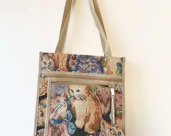 Vintage Tapestry Kitty Tote Bag