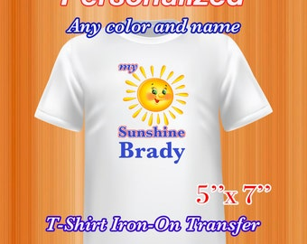 Sunshine Iron on Transfer, Sunshine Summer Shirt, Personalized, PDF