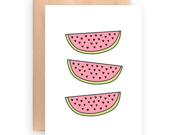Printable Card   Fruit Card   Summer Card   Just Because   5x7 Card   Pink And Green   Watermelon Card   Printable Fruit Card