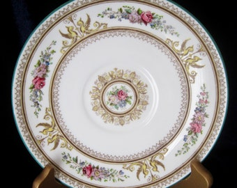 Wedgwood Bone China Columbia White Saucer Only - W595 - Yellow Griffins - Green Trim - England