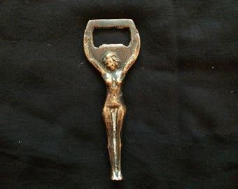 Vintage Solid Brass Bottle Opener, Naked Woman Bottle Opener, Handmade - 1930