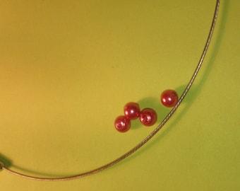 Round glass Pearl 6 mm dark pink beads