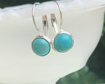 Turquoise Dangle Earrings, Howlite Faux Drop in Silver Tone Earrings, Custom Bridesmaid Gifts Upon Request, Boho Jewelry